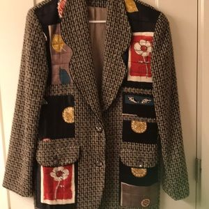 Canvasbacks vintage tweed jacket with silk applica